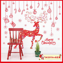Christmas deer gift 3d cartoon wall stickers for kids room living room bedroom christmas wall decal vinyl home decor wallpaper *