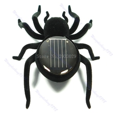 Creative Educational Solar Energy Powered Spider 8 Legs Black Crazy Spider Children Toy -B116(China)