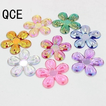 New Big Size 31MM 20Pcs AB Colors Plum Flower Design Flat Back Seeing On Acrylic Rhinestone Two Holes Beads Stone(China)