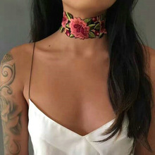 New fashion jewelry embroidery rose flower choker collar necklace nice party gift for women girl N488