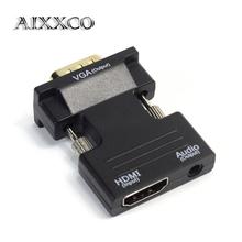 AIXXCO HDMI Female to VGA Male WITH Audio Converter Adapter Support 1080P Signal Output