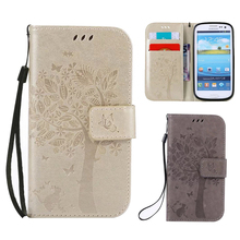3D Tree PU Leather Wallet Flip Cases For Samsung Galaxy S3 S3 Mini Case Mobile Phone Shell to Protect Casing For Samsung S3 Neo(China)