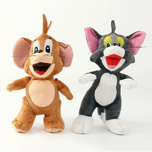 1pcs 25cm Cat Tom and Jerry Mouse Plush Stuffed Toys Doll Soft Cartoon Animals Toy Gifts for Kids Children Christmas