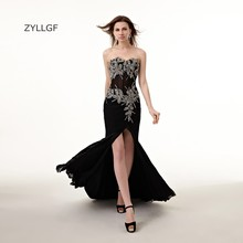 ZYLLGF Sexy Black Prom Dresses Mermaid Sweetheart Open Leg Long Chiffon Formal Prom Gowns Beaded Party Gown Handmade ZL96
