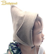 Steeple Witches Knitted Baby Hat for Girls Boys Lace-Up Solid Color Baby Bonnet Enfant Fotografia Props(China)