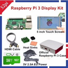 52Pi Raspberry Pi 3 Display Kit with 5 inch HDMI LCD Touch Screen+Official Raspberry Pi Case+16GB SD+5V 2.5 Power Supply + HDMI(China)