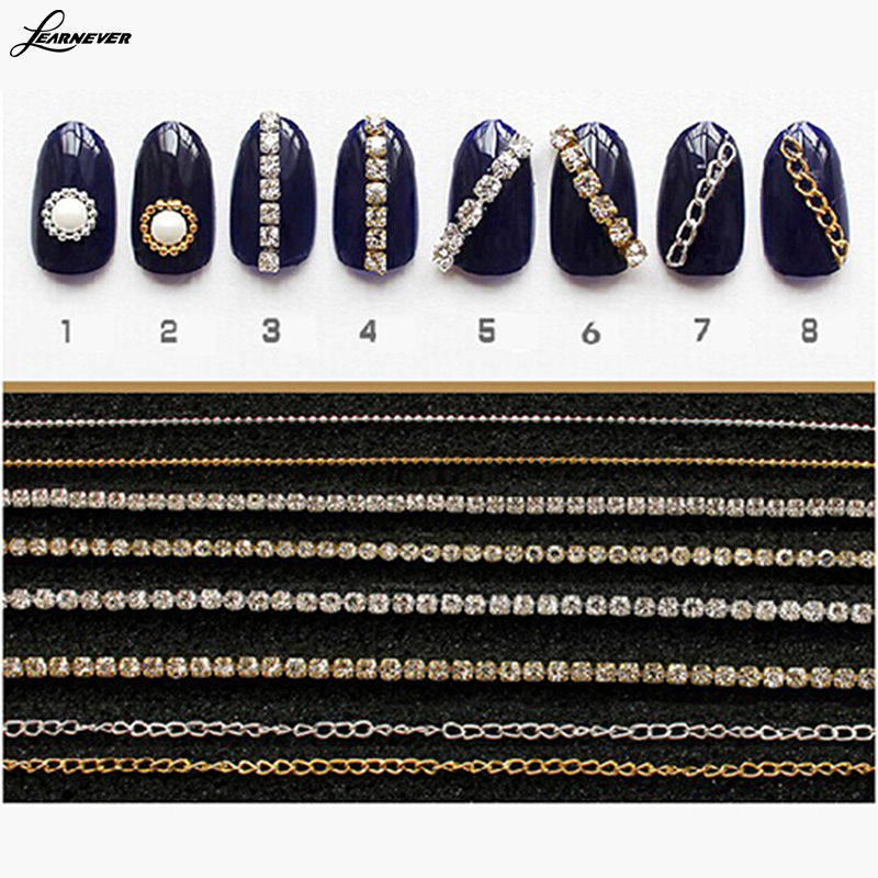 1pc 20cm Gold Silver Mini Shiny Rhinestones Chain Nail Studs Charming 3D Nail Art Chains Nail Charms Nail Decoration M02768(China (Mainland))