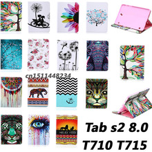 Hot sell Top quality Flower animal cartoon images Card Slot pu leather Case Cover for Samsung Galaxy Tab S2 8.0 T710 T715 case
