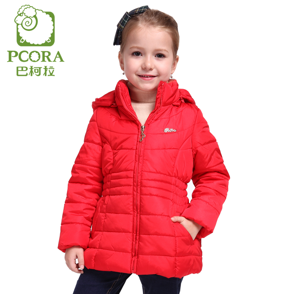 PCORA Winter Jacket for Girls 10 Years Winter Coat Kids Children Girls Clothes Zipper Detachable Cap 4T~14T Outwear Parkas RedÎäåæäà è àêñåññóàðû<br><br>