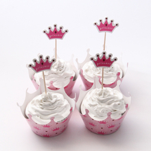 24pcs/lot Princess Crown Paper Cupcake Wrappers Toppers For Kids Party Birthday Decoration Cake Cups(12 wraps+12 topper)