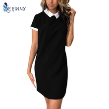 Women's Dress Summer Solid Short Sleeve Cute Peter Pan Collar Dresses 2017(China)