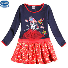 2-8y Girls party dresses nova kids wear hot selling children's clothing long sleeve fashion wedding girls dresses baby frocks(China)