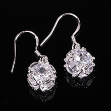 5 Color Fashion High Quality Crystal Ball Silver Earrings Wholesale European and American Style Hot Wholesale Free shipping