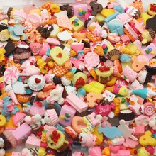 50pcs/lot flat back resin food donut resin cabochons accessories kawaii biscuit mix by chance about 15mm(China)