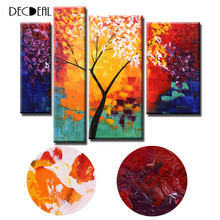 4pcs/set Oil Painting Hand Canvas Painting Modern Abstract oil Painting Life Tree Canvas Paint Wall Art for Living Room Decor