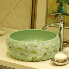 China Artistic Handmade Engraving Ceramic bathoom sinks bowl Lavobo Round Countertop simple wash basin