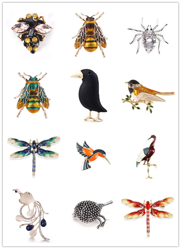 Hot Natural Jewelry Animals Brooch Pins Dragonfly Bird Bee Insect Beetle Parrot Brooches For Women Costume Gift Brooch Pins