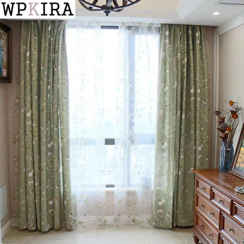 American Country Garden Cotton Linen Green Window Curtains For Living Room Birds Printed Bedroom Window Blackout Drapes 145&30