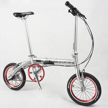 BMX Aluminum Alloy Frame Folding Bike Road Bicycle 14 inch 3 speed Mini Super Light Bead Pedal Folding Bike Double V Brake