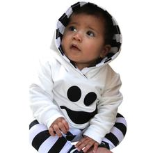 Kids Clothes New Design 2017  Infant Baby Boy Girl Little Devil Hood Blouse Stripe Pants Halloween Outfits Set Menina