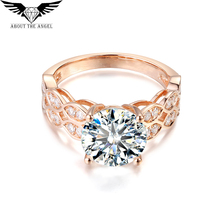 14K Rose Gold Ring/3.0ct Round Moissanite Diamond Ring/Facy Pink Gold Ring(China)