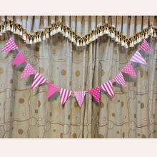 handmade Polka Dot Blue Pink Party Bunting Flags/Banners/Pennants Outdoor Kids birthday party decoration Wedding party supplies