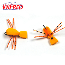 6PCS 10# Wifreo Orange Foam Beatle Fly Floating Fishing Flies for Trout Fishing(China)