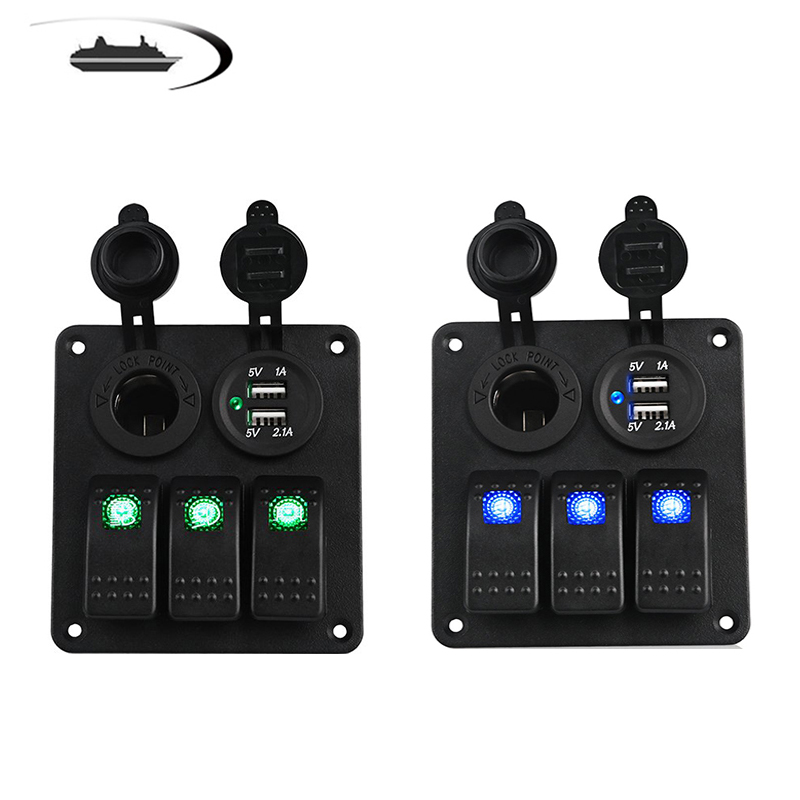 LED 3 Gang Rocker Switch Panel Power Socket 3.1A Dual USB Wiring Kits and Decal Sticker Labels DC12V 24V for Marine Boat Car(China)