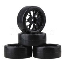 Mxfans 4pcs Smooth Tires & Wheel Rim for RC 1: 10 On-Road Racing Car & Drift Car Black