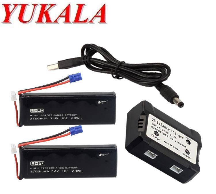 YUKALA H501S RC quadcopter RC drone 7.4V 2700mAh  Li-polymer battery*2pcs +balancer charger free shipping<br>
