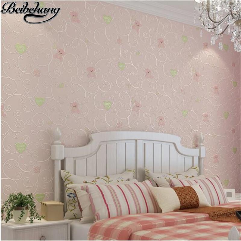 beibehang wallpaper Cartoon Cubs 3D Fine Pressure Nonwovens Wallpaper Bedroom Boys Girl Warm Simple Simple Kids Room Wallpapers<br>