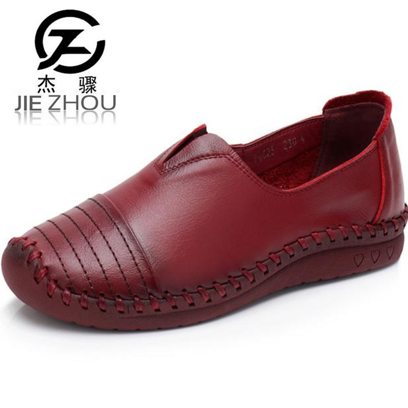 2018 spring and autumn Genuine Leather Flats handmade shoes Plus Size soft bottom  Skid casual mom shoes Free shipping <br>