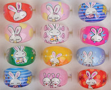 Mix Wholesale 20Pcs/lot Cartoon Resin Rings for Children Kids Jewellery Cute Rabbit Rings Birthday Xmas Gift(China)