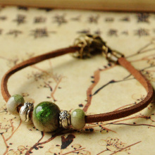 Leather Bracelets Flower Beads Women Men Ceramic Charm Adjustable Wristbands Chain Cuff Bangle Fashion Jewelry(China)