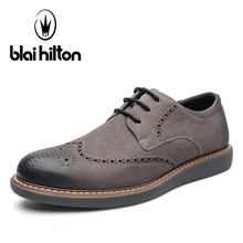 Blai Hilton Brand 2017 100% Genuine Leather Men Casual Shoes Luxury Brogue Classic Fashion Male Shoes Designer Breathable Shoes(China)