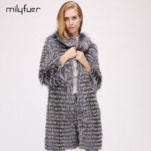Milyfuer Natural Fox Fur Coat Women Long Style Casual Silver Thick Warm Autumn Winter Full Sleeve Slim Autumn Winter Fur Coats(China)