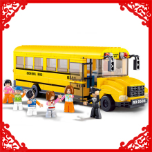 SLUBAN 0506 392Pcs Big City Yellow School Bus Model Building Block Construction Figure Toys Gift For Children Compatible Legoe