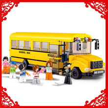 SLUBAN 0506 392Pcs Big City Yellow School Bus Model Building Block Construction Figure Toys Gift For Children Compatible Legoe(China)