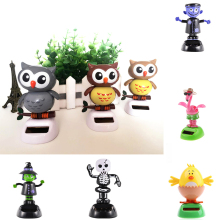 Cute Solar Power Toys Office Desk Home Car Decor Animal Auto Accessories(China)