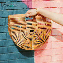 Fashion Summer Holiday Beach Straw Bag Hollow Out Bamboo Bag Women Handbags Designer Ladies Clutch Evening Bag Wooden Purse