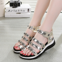 2016 Korean summer women students wedge flat thick muffin open toe sandals suite toe star rivets PU sweet designer sandals shoes