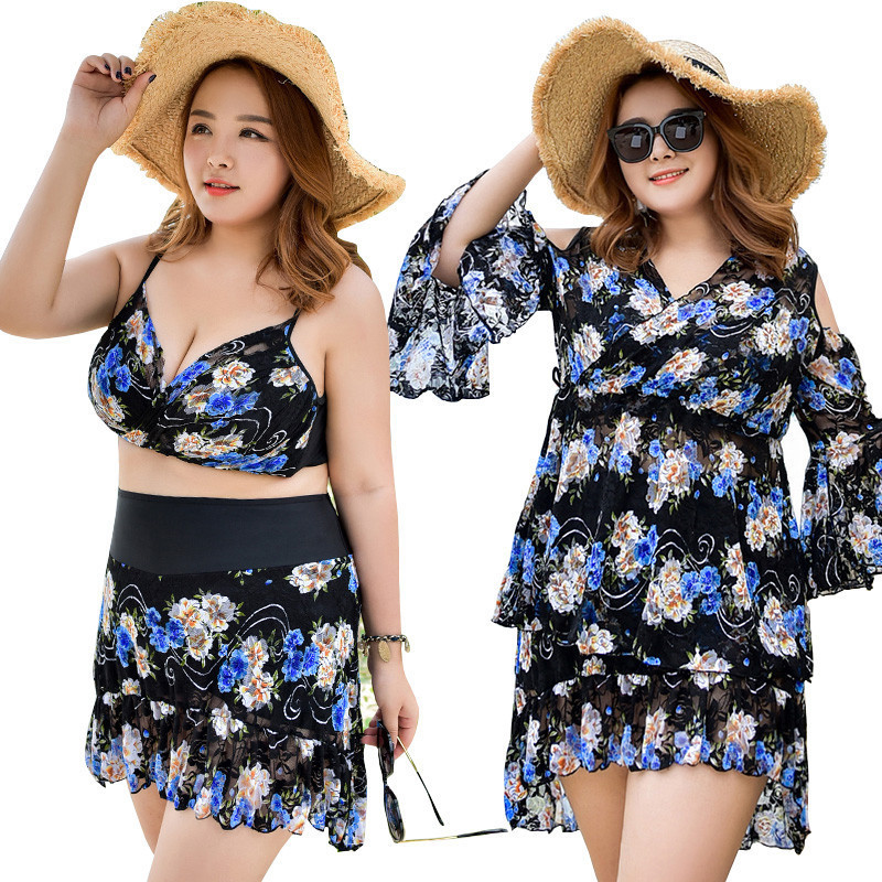 Swimsuit Push Up Swimwear Plus Size Beachwear Bathing Suit 2018 Summer Print Cover Ups 3pcs/set Swim Wear Women Maillot De Bain<br>