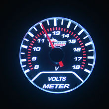 52mm White blacklight 8-18V Motor Auto Volt Gauge  voltage Meter Auto Gauge Car Styling  free shipping
