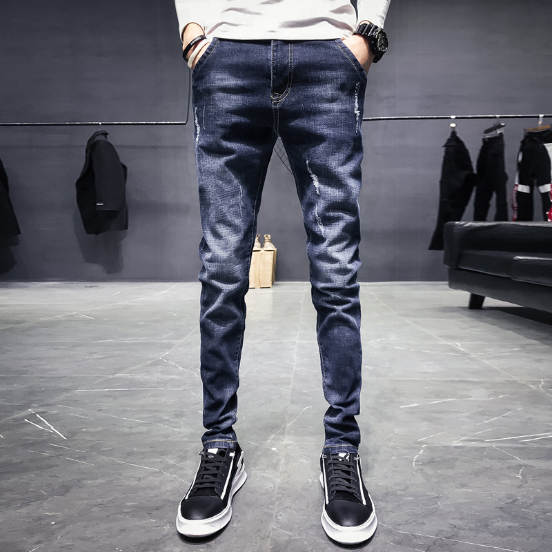 Fashoin Straight Mens Jeans Brand Slim Fit Denim Pants Mens Skinny Jeans Pants Cowboys Elasticity Solid Pencil Jeans for Men