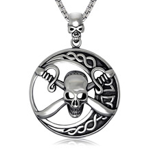 Gothic Black Enamel 316L Tribal Skull Pirate & Crossing Swords Stainless Steel Round Pendant Necklace W/ SS Chain 60 CM