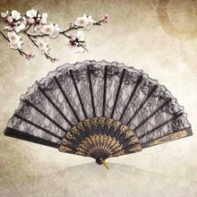 Home Use Vintage Fancy Dress Costume Chinese Costume Party Wedding Dancing  Folding Lace Hand Fan black Free / Drop Shipping