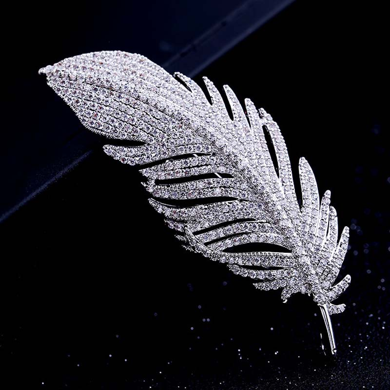 Red Trees Brand High Quality Fashion Classic Feather Brooch For Man In Box Package title=