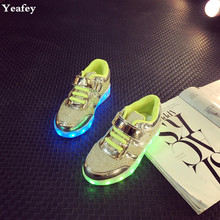 Yeafey Led Shoes Luminous Sneakers Light Up Sneakers for Kids USB Girls Led Shoes Children Pink Size 25-34 Illuminated Sneakers(China)
