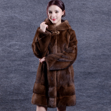 womens Water mink coat the whole mink female mink fur coat long paragraph 2016 new with hooded imports clothing hooded D25