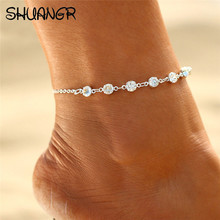 SHUANGR Vintage Fashion Crystal Anklet For Women Link Chin Bohemian Gold Silver Color Shoe Boot Chain Bracelet Foot Jewelry 2017